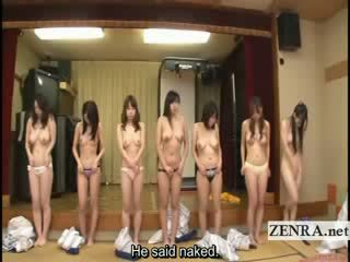 Subtitled group of japanese milfs stripping for racing game