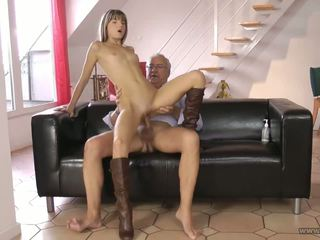 Petite young girl and her older boss after work.