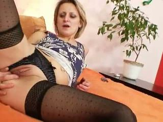 Mom Loves mom: Mature slut masturbates her shaved pussy with a huge toy