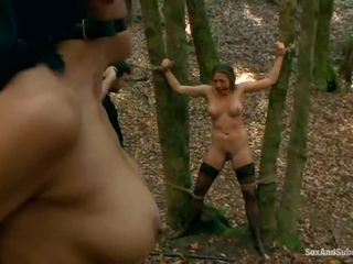 Tied Up Chanel Preston Has Her Brown Tunnel Bumped In A Forest