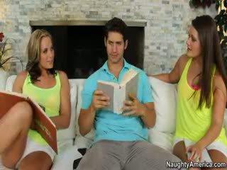 brünett, tegelikkus, kuumim threesome vaatama