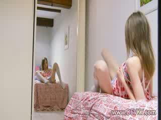Ultra skinny proana girl spreading lips