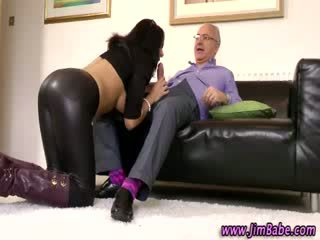 Older guy with hot babe gets blowjob