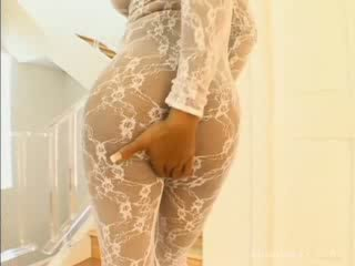 Ebony in one-piece lingerie gets desired