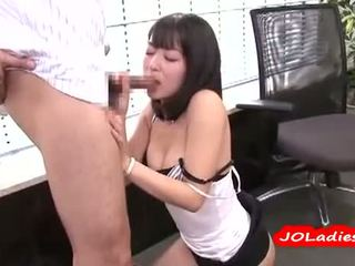 Office Lady Getting Her Hairy Pussy Licked Fingered Sucking Guy Cock In The Office