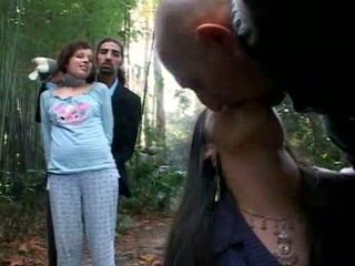 Swell tranny in group sex outdoor