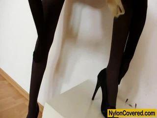 Impressive Blonde Distorted Stockings Mask Moth