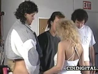 Samantha tugev blond beib imemine kolm cocks
