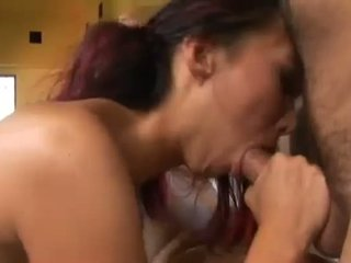 Asian whore jumping on a big white penis
