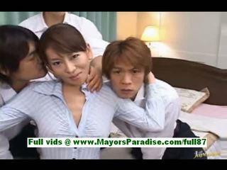 Rei kitajima mature japanese slut at home with three guys gets her tits licked