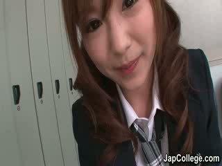 japanese babe gives blowjob in lockerroom