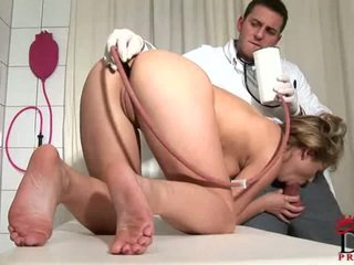 Suffering from acute cock fever,Kimberly visits doctor for hot injection