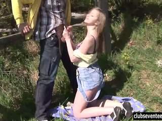 Teen Abby fuck outdoors