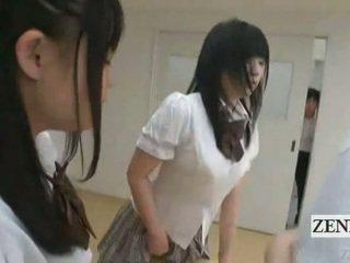 Subtitled japonsko schoolgirls v thongs rit judging