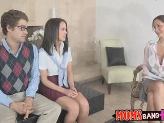 Sexy teacher Ava Adams loves threesome
