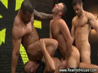 Gang bang for this horny gay hunk and his jocks