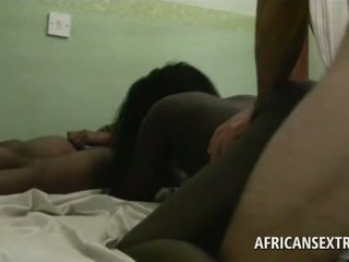 Excited white tourist banging African tiny and slick fu