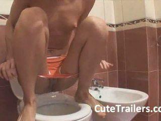 cascata, banheiro, adolescente
