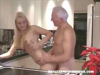 Hot girl sucks old man, swallows his big load