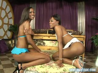 Hot Ebony Babes Coffee Brown And Heidi Waters Get Their Faces Sloshed In Cum