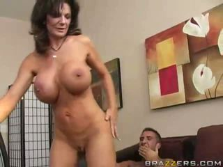 Busty brunette horny milf getting double fucked at work