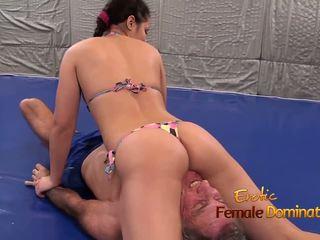 Lana Wrestles in Bikini with Elderly Man, Porn 4b