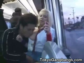 White Coed Toyed in Japan Bus!