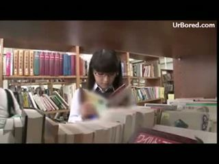 drilled, छात्रा, geek, library
