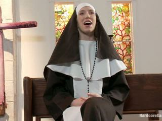 Petite Blonde Lives Out Fantasy Nun Gangbanged By 5 Priests In Chapel