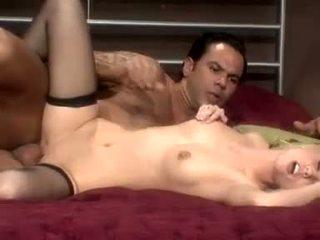Sleazy blonde slut Brea Bennet fucks a man to death with her hot wet snatch