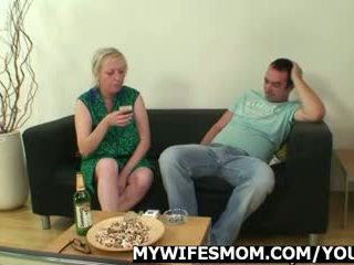 Cock hungry mom jumps on her son-in-law cock