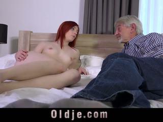Sweet Redhead Teeny Suck the Crooked Old Rod of Oldman