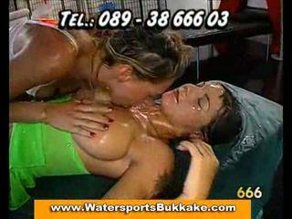 Cum drooling and cum swapping sluts at bukkake orgy