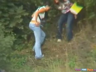 Girls Caught Outdoor Pissing By Tourist