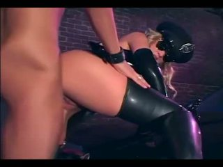Pretty blonde fucking in gloves and latex lingerie