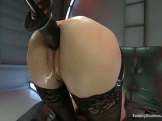 brunette, squirting, fucking machine, pissing