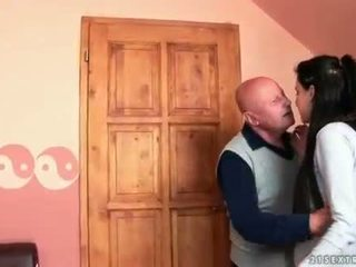 Very old grandpa loves young brunette