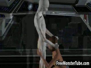 3D brunette babe sucking on an alien's hard cock