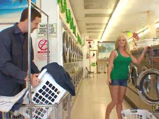 Superb sexy blonde babe with natural big tits doing blowjob in the washing store