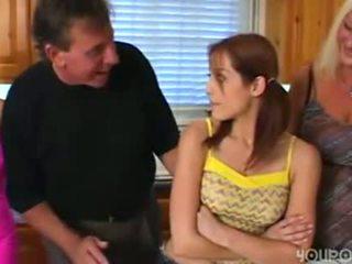 brunette, jeune, vieux, masturber