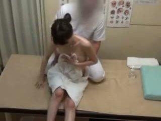brunette, japonais, doigté, massage
