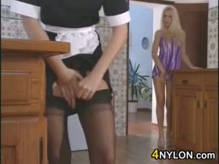 Blonde With A Nylon Fetish Licks Her Maid