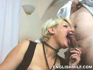 Lovely blonde MILF sucks her lovers big boner