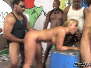 Mellanie Monroe gets bukkaked by ten blacks