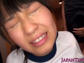 Tiny asian babes hairypussy toyed in group