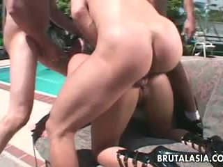 Hot Asian threesome where a babe gets brutally fucked