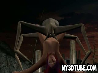 3D cartoon babe getting fucked by an alien spider