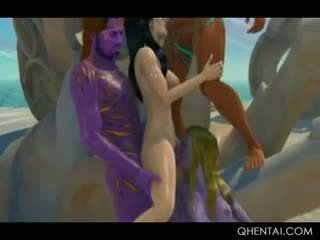 Naked Sexy Hentai Brunette Fucking Aliens In Gangbang
