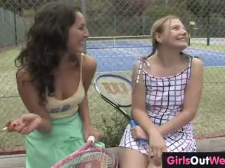 Hot female tennis couch licked by her cute lesbian trainee