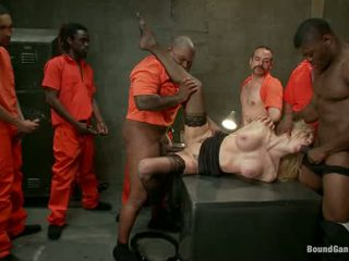 Sexy Blonde Prison Warden With Big Tits Gets Gangbanged By Horny Inmates1